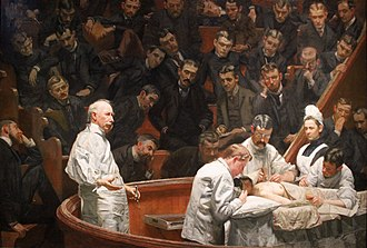 Perelman School of Medicine at the University of Pennsylvania - The Agnew Clinic (1889) by Thomas Eakins shows a mastectomy being performed in the clinic of Penn surgeon David Hayes Agnew. The painting is notable for showing the increasing specialization of surgical techniques and accessories in the late 1800s.