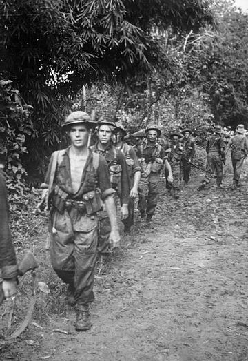 British troops marching through the jungle, 1944