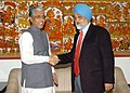 The Chief Minister of Tripura, Shri Manik Sarkar meeting the Deputy Chairman, Planning Commission, Shri Montek Singh Ahluwalia to finalize annual plan 2009-10 of the State, in New Delhi on February 19, 2009.jpg