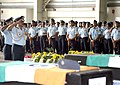 The Chief of Air Staff, Air Chief Marshal N.A.K. Browne paying tributes to IAF martyrs who died in the recent helicopter crash in Uttarakhand, after their bodies were brought at the Hindon airbase on June 28, 2013.jpg