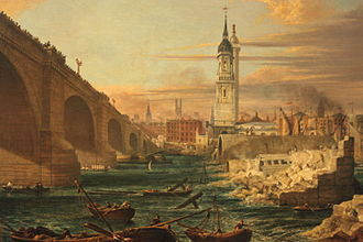 London Bridge - The Demolition of Old London Bridge, 1832, Guildhall Gallery, London.