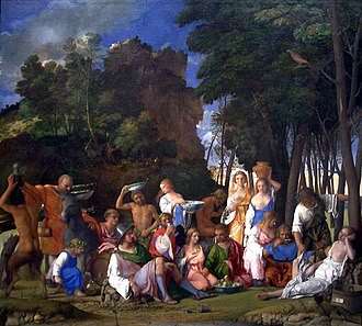 Camerini d'alabastro - Giovanni Bellini, The Feast of the Gods (1514), much altered by Titian and Dosso Dossi, now in Washington