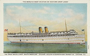 """SS South American - Image: The Great White Liner """"South American,"""" Chicago, Illinois, circa 1915 1930"""