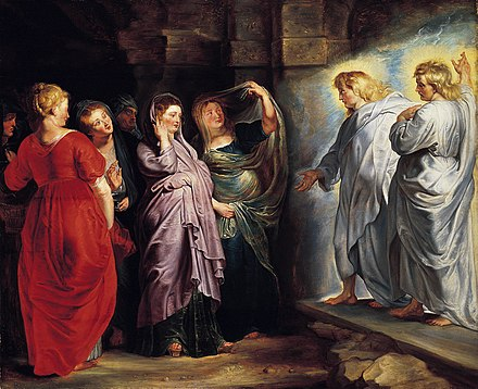 The Three Marys at the Tomb by Peter Paul Rubens, with Mary Magdalene in red The Holy Women at the Sepulchre by Peter Paul Rubens.jpg