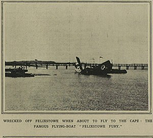 Felixstowe Fury -  A cutting from The Illustrated London News 16 August 1919, showing wreckage of the Fury being hauled toward a slipway at the Seaplane Experimental Station.