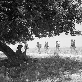 1st Canadian Division - Canadian troops of The Carleton and York Regiment move inland from the beaches after landing in Sicily, 13 July 1943.