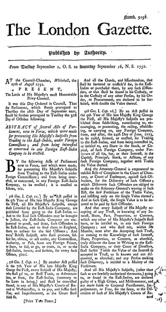 "Issue 9198 of The London Gazette, covering the calendar change in Great Britain. The date heading reads: ""From Tuesday September 1, O.S. to Saturday September 16, N.S. 1752"". The London Gazette 9198.djvu"