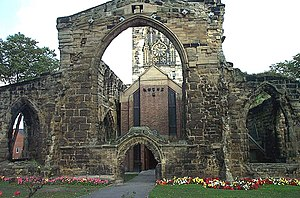 Pontefract - The new church within the old. After All Saints' church was damaged during the civil war a new one was built within.