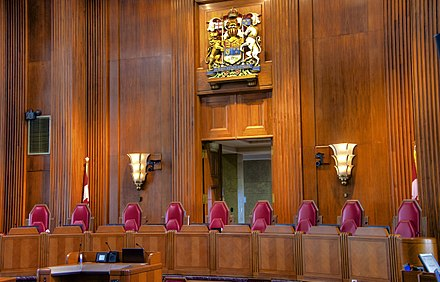 The bench for justices of the Supreme Court of Canada, the final court of appeals in the country The Nine.jpg