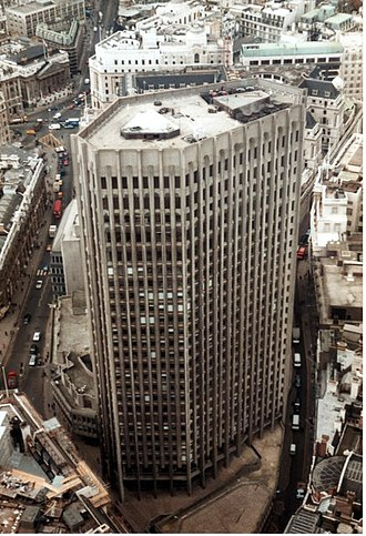 London Stock Exchange - The Stock Exchange Tower pictured from atop the National Westminster Tower in 1983.