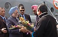The Prime Minister, Dr. Manmohan Singh being received by the Governor of Arunachal Pradesh, Gen. (Retd.) J.J. Singh and the Chief Minister of Arunachal Pradesh Dorjee Khandu in Itanagar, Arunachal Pradesh on January 31, 2008.jpg