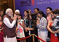 The Prime Minister, Shri Narendra Modi being welcomed by the Indian community, on his arrival, to attend the 9th BRICS Summit, in Xiamen, China on September 03, 2017 (1).jpg