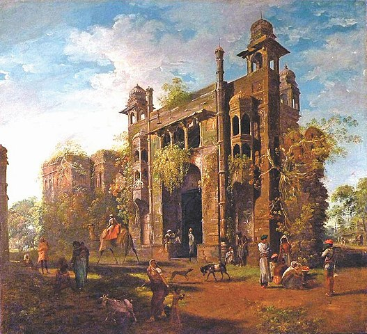 A painting of Lalbagh during the final years of the Mughal era