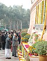 The Speaker, Lok Sabha, Shri.Somnath Chatterjee paying floral Tributes to the Martyrs on the occasion of the Fifth anniversary of the Parliament attack, in New Delhi on December 13, 2006.jpg