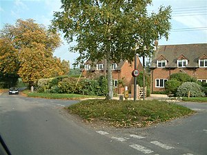 Binfield Heath - 20th century homes around a  green junction in the nucleus of the village.