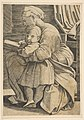The Virgin reading with the infant Christ; woman seated in profile facing left and reading with an arm around a child who looks out toward the viewer MET DP818628.jpg