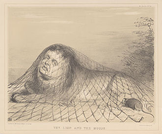 The Lion and the Mouse - Lithograph in black pencil on cream-coloured background by John Doyle (artist), 1844