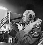 The radar operator of a No. 220 Squadron Boeing Fortress at Benbecula in the Hebrides, May 1943. CH18481.jpg