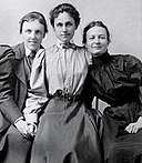 Theodate Pope, Alice Hamilton, and a student believed to be Agnes Hamilton, 1888.jpg
