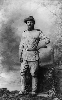 "Although a Navy official, Roosevelt left his post in the Navy Department to become Colonel Roosevelt, leader of the ""Rough Riders""."