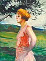 Thorma Woman standing at the Riverside 1929.jpg