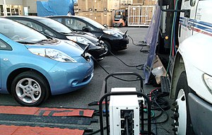 Three Nissan Leaf electric cars recharging, An...