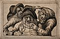 Three grotesque old men with awful teeth grimacing and point Wellcome V0012066.jpg