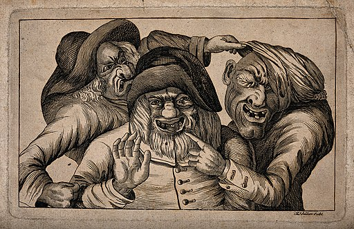 Three grotesque old men with awful teeth grimacing and point Wellcome V0012066