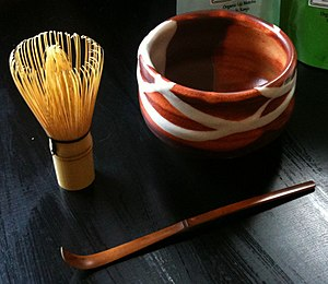 Matcha - A three-piece set for making matcha, including a whisk (chasen), bowl (chawan), and spoon (chashaku)