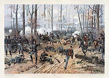 Union artillery firing through the woods; a messenger runs behind the line