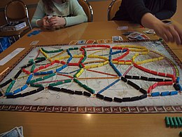 Una partita a Ticket to Ride, alla fine del gioco.