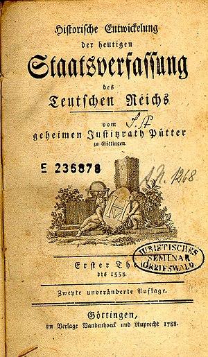 Johann Stephan Pütter - Title page of Historische Entwicklung der heutigen Staatsverfassung