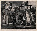 Titus Oates is standing in the pillory while two men drive a Wellcome V0041678.jpg