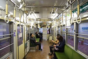 Toei 7000 series - The interior of a 7000 series car in March 2012