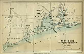 Togoland - Map of Togoland in 1885.