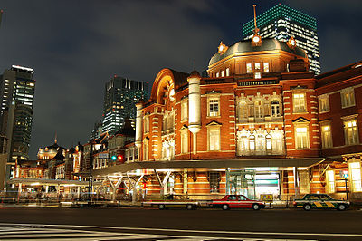 The restored exterior on the Marunouchi side of Tokyo Station