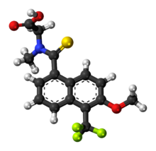 Ball-and-stick model of the tolrestat molecule