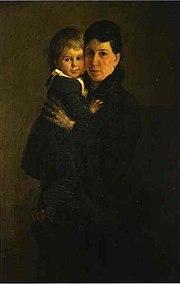 Sofía Andréyevna Behrs y uno de los trece hijos que tuvo con el escritor.