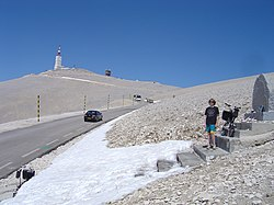 Tom Simpson memorial, Mont Ventoux, 2 May 2009.jpg