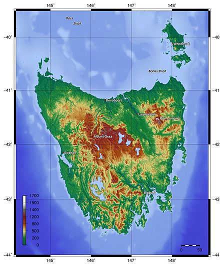 Topography of Tasmania Topography of Tasmania.jpg