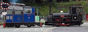 """Cilgwyn quarry - ex-Cilgwyn steam locomotive """"Lilla"""" shown visiting the Llanberis Lake Railway"""