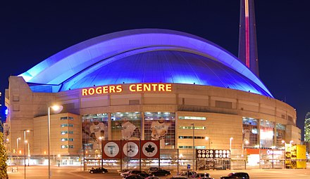 Rogers Centre (temporarily renamed Pan Am Dome for the duration of the Games) hosted the opening and closing ceremonies. Toronto - ON - Rogers Centre (Nacht).jpg