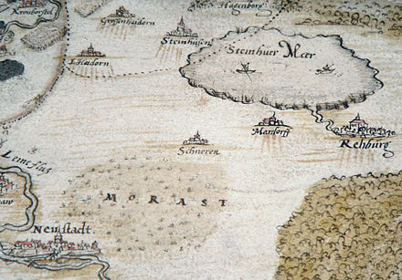 Darstellung von Rehburg am Steinhuder Meer um 1520 während der Hildesheimer Stiftsfehde, Zeichnung von Johannes Krabbe  von 1591
