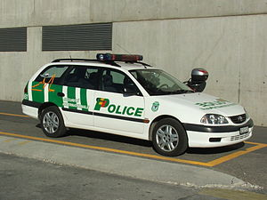 Law enforcement in Switzerland - Toyota Avensis of the airport section of the Cantonal police of Geneva.