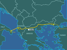 Location of Trans Adriatic Pipeline