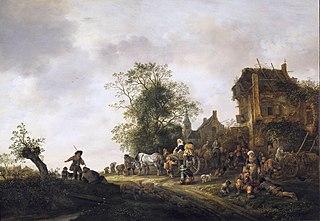 Travellers before an Inn