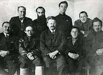Trotskyism - The leaders of the Trotskyist Left Opposition in Moscow, 1927. Sitting: Leonid Serebryakov, Karl Radek, Leon Trotsky, Mikhail Boguslavsky, and Yevgeni Preobrazhensky. Standing: Christian Rakovsky, Yakov Drobnis, Alexander Beloborodov, and Lev Sosnovsky.