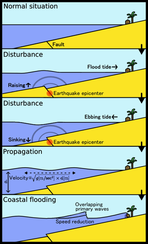 Tsunamis in lakes - Figure 1: Diagram showing how earthquakes can generate a tsunami.