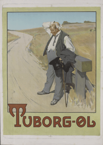 """Beer in Denmark - Prints by Erik Henningsen for Tuborg beer (1900), known as """"the thirsty man."""""""