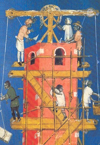Alain Erlande-Brandenburg - Construction of the Tower of Babel, featured on the cover of The Cathedral Builders of the Middle Ages.